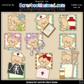 RESALE ART WORK Bears Medical Squares ClipArt