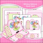 Birthday Balloons Easel Card Download