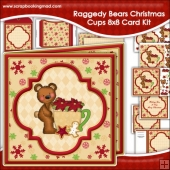 Raggedy Bears Christmas Cups Large 8x8 Card Kit