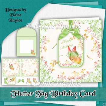 Flutter Tag Birthday Card Kit