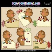 Fuzzy Cubs Christmas Tags ClipArt Collection