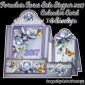 Porcelain Roses Side Stepper 2017 Calendar Card & Envelope