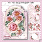 Pink Rose Bouquet Shaped Card Kit