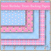 5 Sweet Birthday Treats Backing Papers Download (C205)