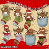 Whimsical Gingerbread Stockings ClipArt Graphic Collection