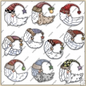 Santa Heads ClipArt Graphic Collection 2