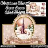 Christmas Church Snow Scene Card Topper