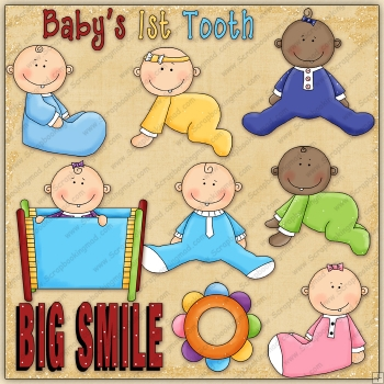 Baby's 1st Tooth ClipArt Graphic Collection