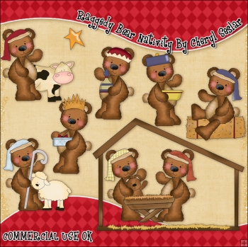 Raggedy Bear Nativity ClipArt Graphic Collection
