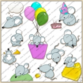 Cute Little Mice ClipArt Graphic Collection