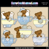 Tibbles Snowflake Teacups ClipArt Collection