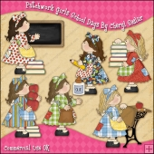 Patchwork Girls School Girls ClipArt Graphic Collection