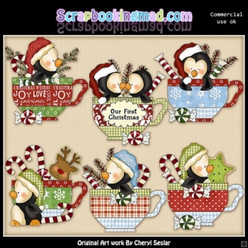 Penguin Christmas Teacups ClipArt Collection