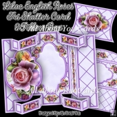 Lilac English Roses Tri Shutter Card Set