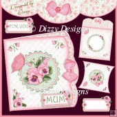 PINK PANSIES Double edge effect card with Pillow Box