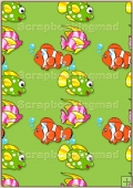 A4 Backing Papers Single - Green Fish - REF_BP_179