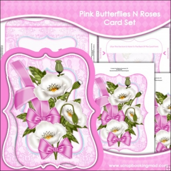 Pink Butterflies N Roses Bracket Card Set