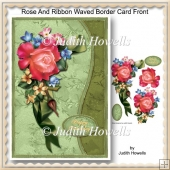 Rose And Ribbon Waved Border Card Front