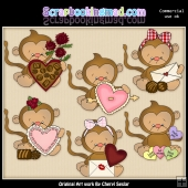 Baby Monkey Valentines ClipArt Graphic Collection