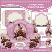Antique Roses Push N Pull Card