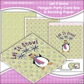 Let It Snow Penguin Party PDF Decoupage Card Box & Backing Paper