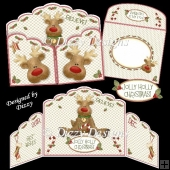 Jolly Holly Rudolph Gatefold Card