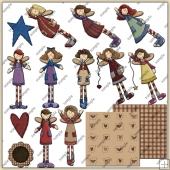 Angel Girls ClipArt Graphic Collection