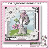 Cute Dog With Flower Square Card Front