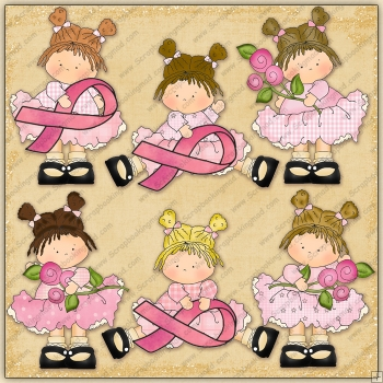 Little Breast Cancer Beauties ClipArt Graphic Collection