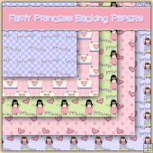 5 Little Fairy Princess Backing Papers Download (C242)