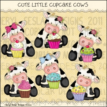 Cute Little Cupcake Cows ClipArt Graphic Collection