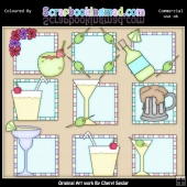 Cocktail Squares ClipArt Graphic Collection