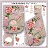 Pink Roses Drop Flap Card Kit