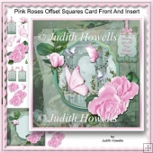 Pink Roses Offset Squares Card Front And Insert