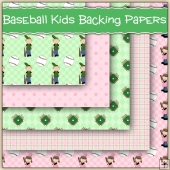 5 Baseball Kids Backing Papers Download (C243)