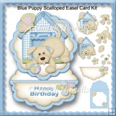 Blue Puppy Scalloped Easel Card Kit