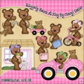 Raggedy Bear At Play ClipArt Graphic Collection