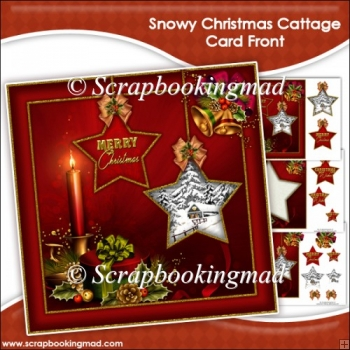 Snowy Christmas Cattage Card Front & Insert Panel