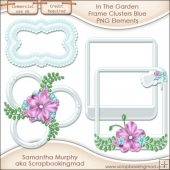 In The Garden Frame Clusters Blue PNG Elements