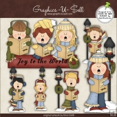 Joy To World Caroler ClipArt Graphic Collection