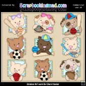 Doggy All Stars ClipArt Graphic Collection