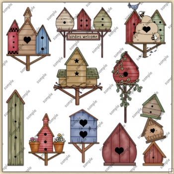 Bird House ClipArt Graphic Collection
