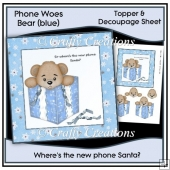 Phone Woes Topper & Decoupage Sheet - No Phone (blue)