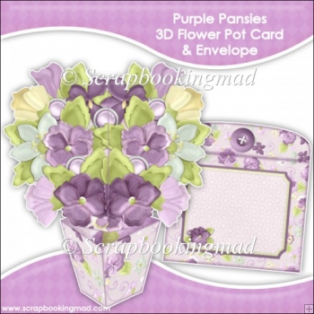 Purple Pansies 3D Flower Pot & Envelope