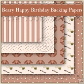 5 Have A Beary Happy Birthday Backing Papers Download (C153)