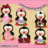 Valentine Penguins ClipArt Graphic Collection