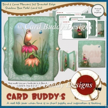 Bird & Cone Flowers 7x7 Bracket Edge Shadow Box Fold Card Kit