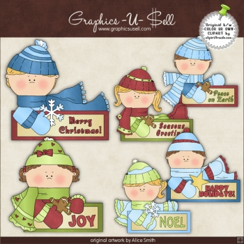 Holiday Message Kids 1 ClipArt Graphic Collection