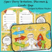 Space Party Invitations, Placemats, and Goodie Bags