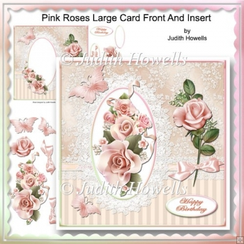 Pink Roses Large Card Front And Insert